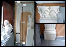 pilastre cannelées staff decors muraux colonne plate chapiteau base