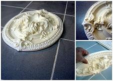 rosace staff plâtre plafond déco moulage ornement