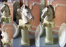 CHEVAL patiné statue sculpture staff plâtre déco moulage art