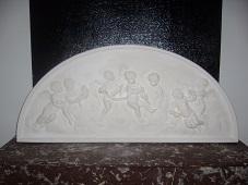Fresque Fronton ange bas reilef tableau staff plâtre moulage art deco
