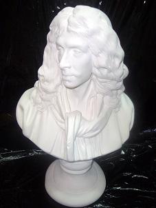 buste Molière statue sculpture staff plâtre déco moulage art