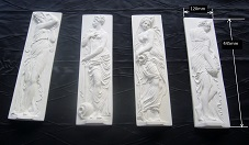 4 bas relief nymphes de la fontaine des innocents staff plâtre moulage art déco tableaux