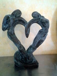 sculpture amoureux Design contemporain statue moulage platre staff art déco cadeaux