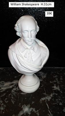 buste William Shakespeare statue moulage platre sculpture staff art déco cadeaux